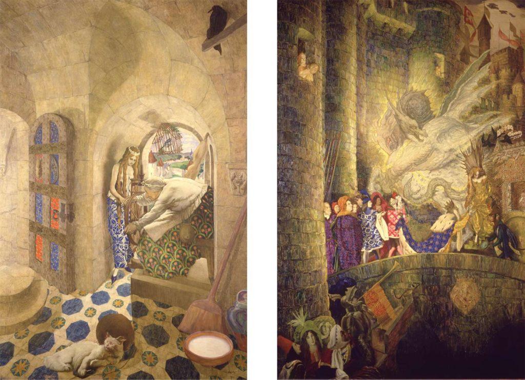 twp elaborate paintings showing scenes from sleeping beauty