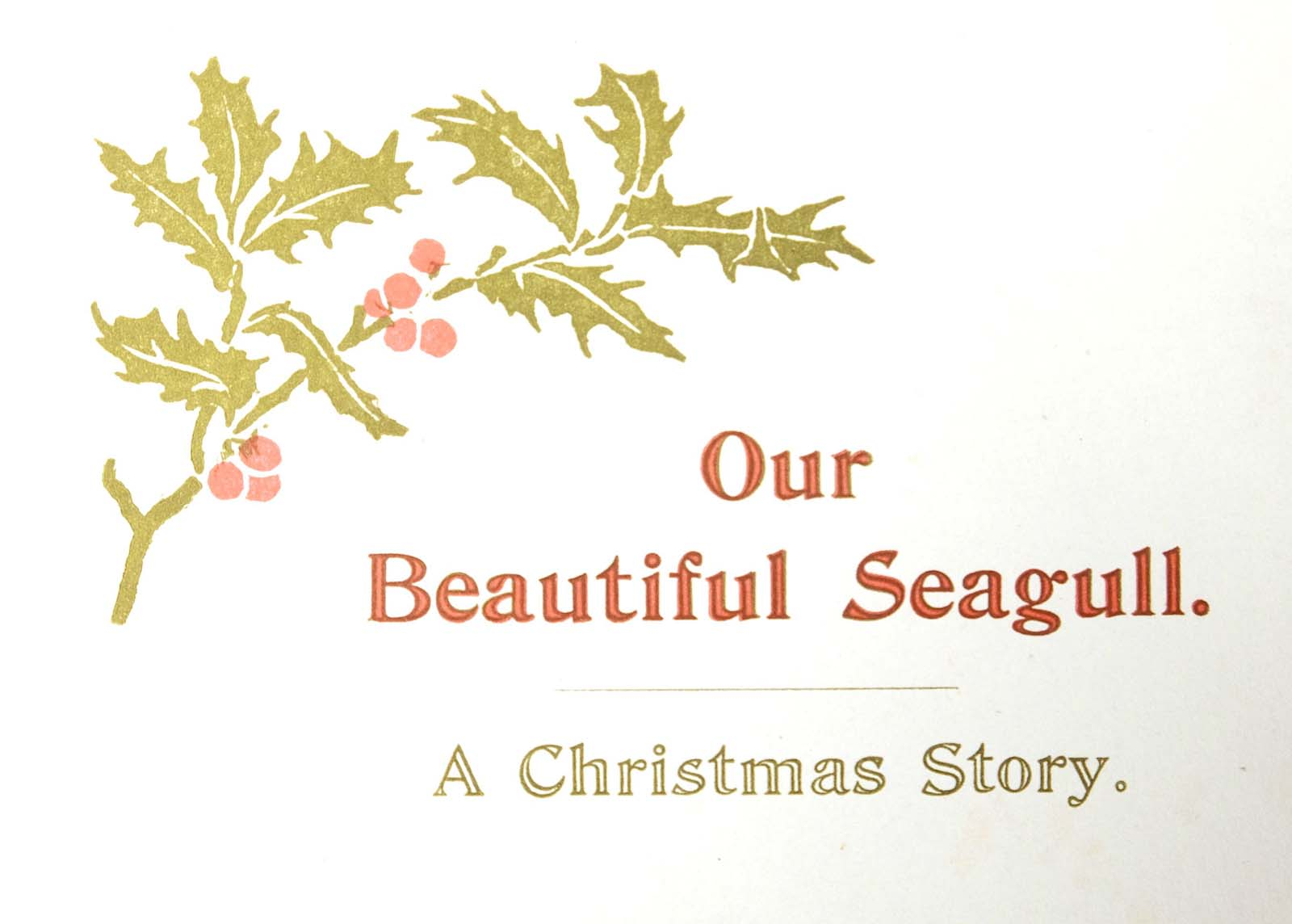 front cover of a pamphlet with a holly design and the words our beautiful seagull a Christmas story