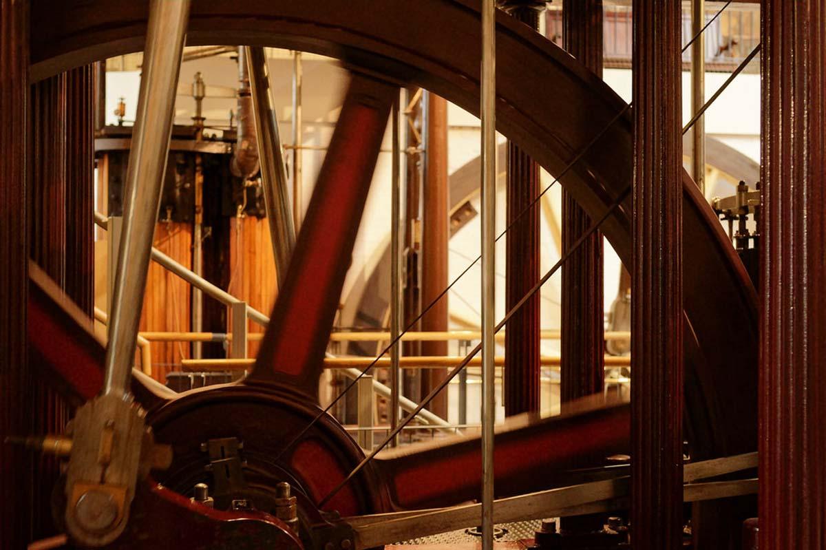 a photo looking through a steam wheel