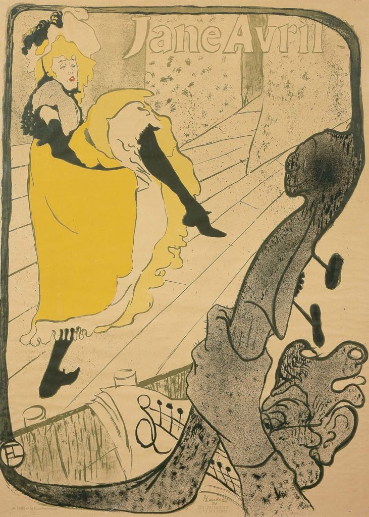 a poster featuring a high kicking can can dancer