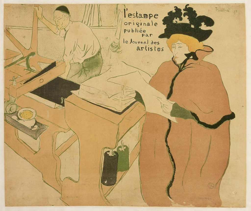 a printed poster featuring a woman in a cloak and hat next to a printing press