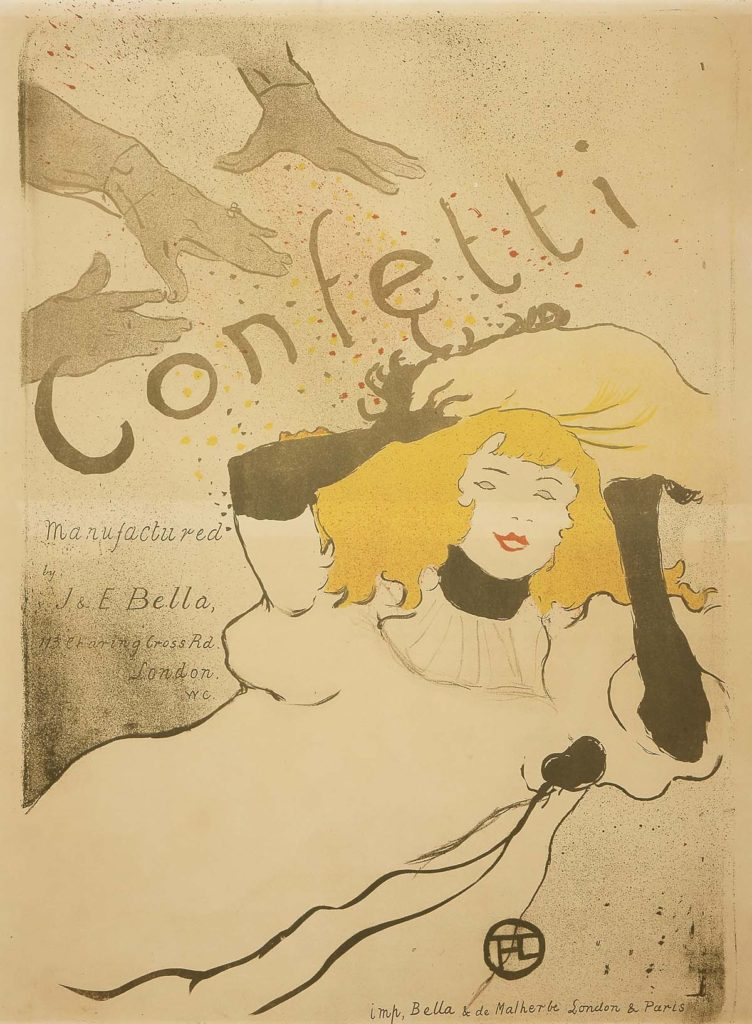 a poster for confetti with a woman showered by confetti