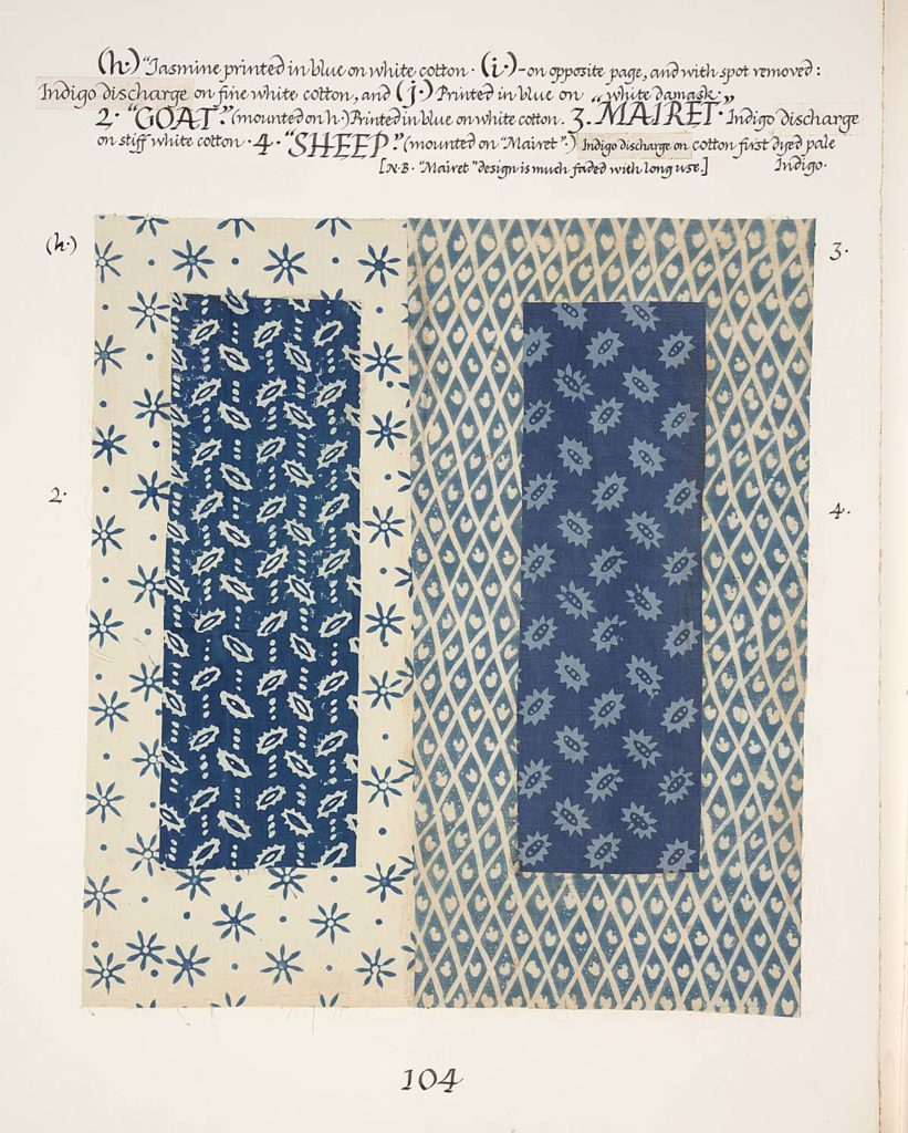 a sample sheet with two mounted swatches of fabric on them