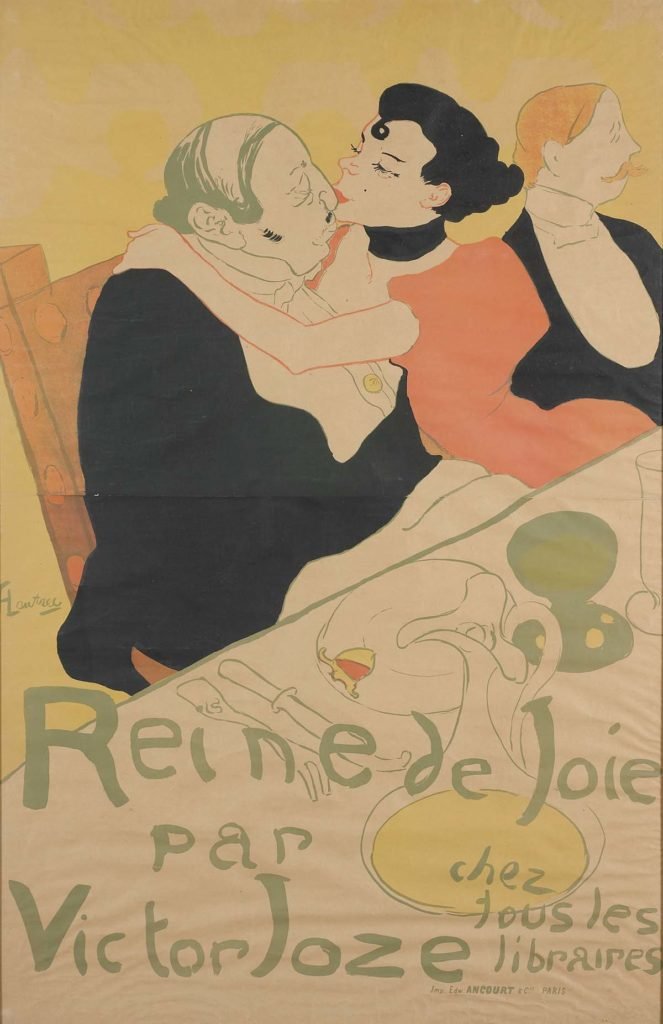 a poster with a young woman canoodling with a fat, bald, middle-aged man