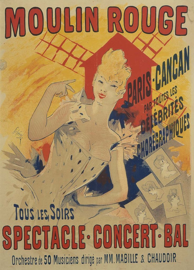 a poster in yellows, red and blue featuring a reclining woman