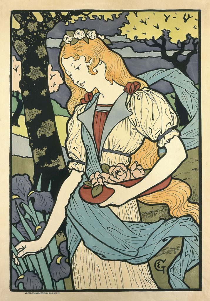 a pposter with an art nouveau woman with long blonde hair