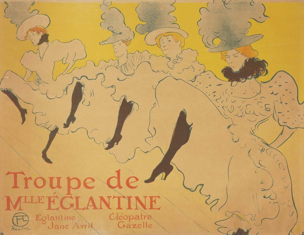 a printed poster with high kicking dancers doing the can can