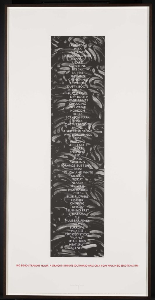 an artwork print of dark shapes in a long oblong
