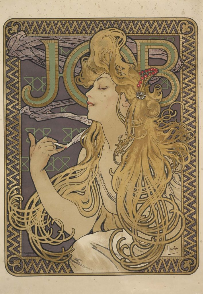 a poster with the word Job and a print of a young woman with tendrils of long blond hair