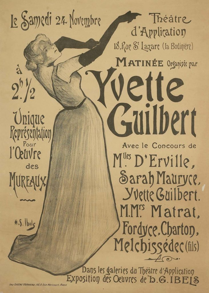a poster with text and print of a woman pulling on a pair of long gloves