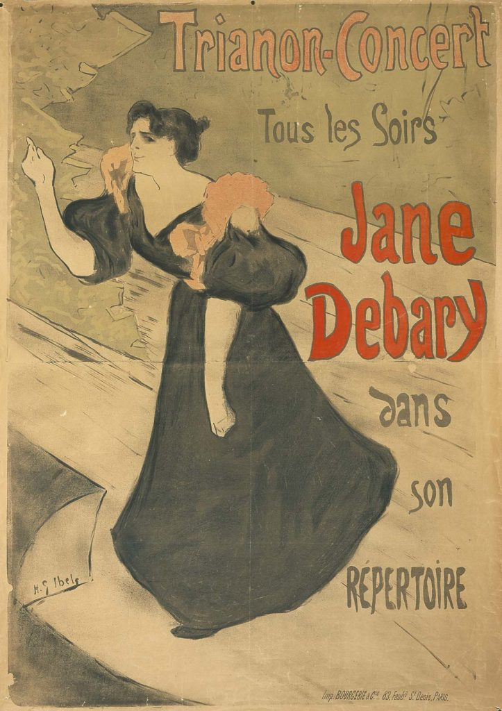 a poster for Jane Debary depicting her on stage