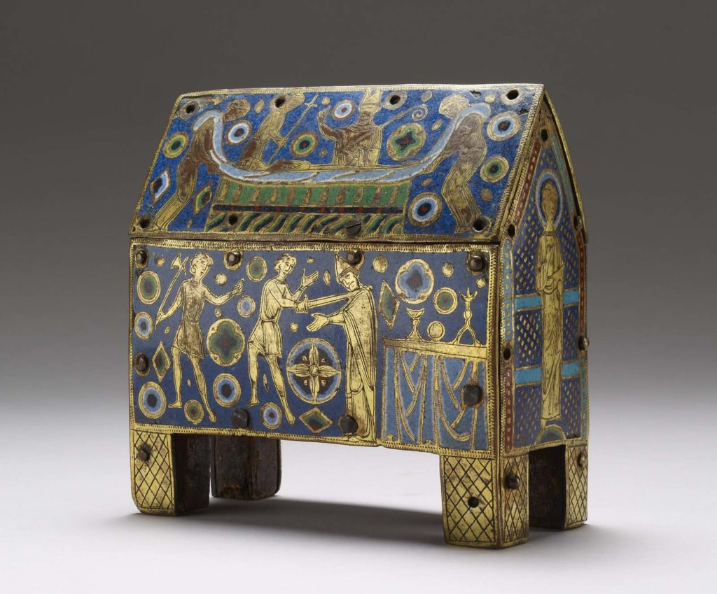a photo of an ornate box in gold and blue inlay with medieval manuscript style figures depicting the murder of Thomas Becket