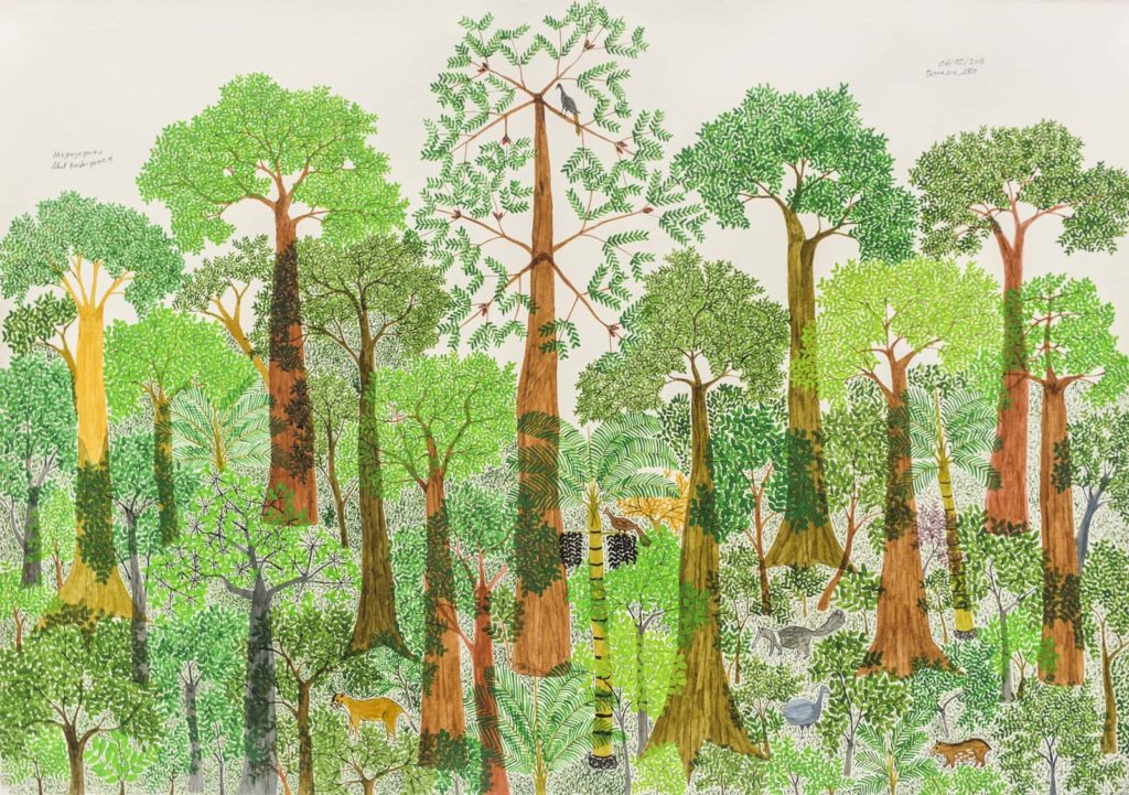 a watercolour painting of trees