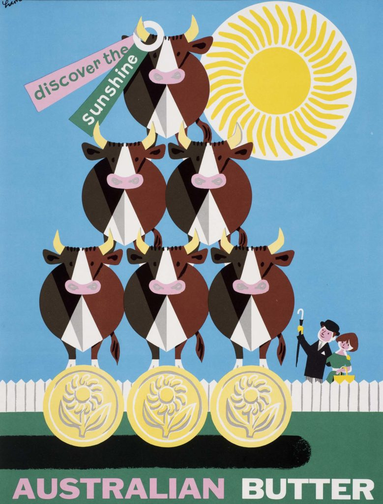 a poster with six cows piled up like acrobats