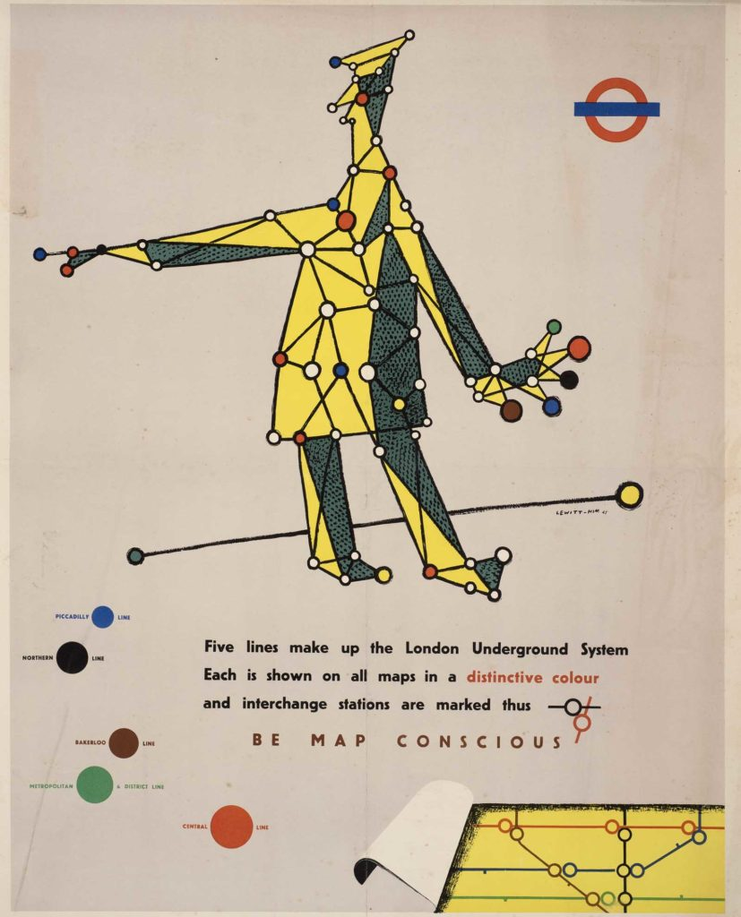 Poster for London Underground with a rial man in coat and hat with the lines of the underground mapped out across his coat