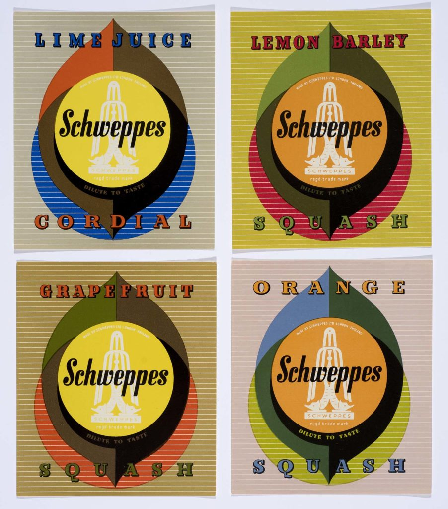 a series of four posters showing designs for Schweppes bottle tops