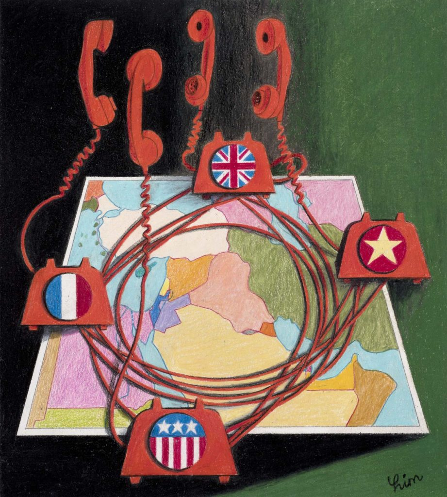 a poster with several red phones each with flags on them jauntily placed over a map of Europe, Africa and the Middle East