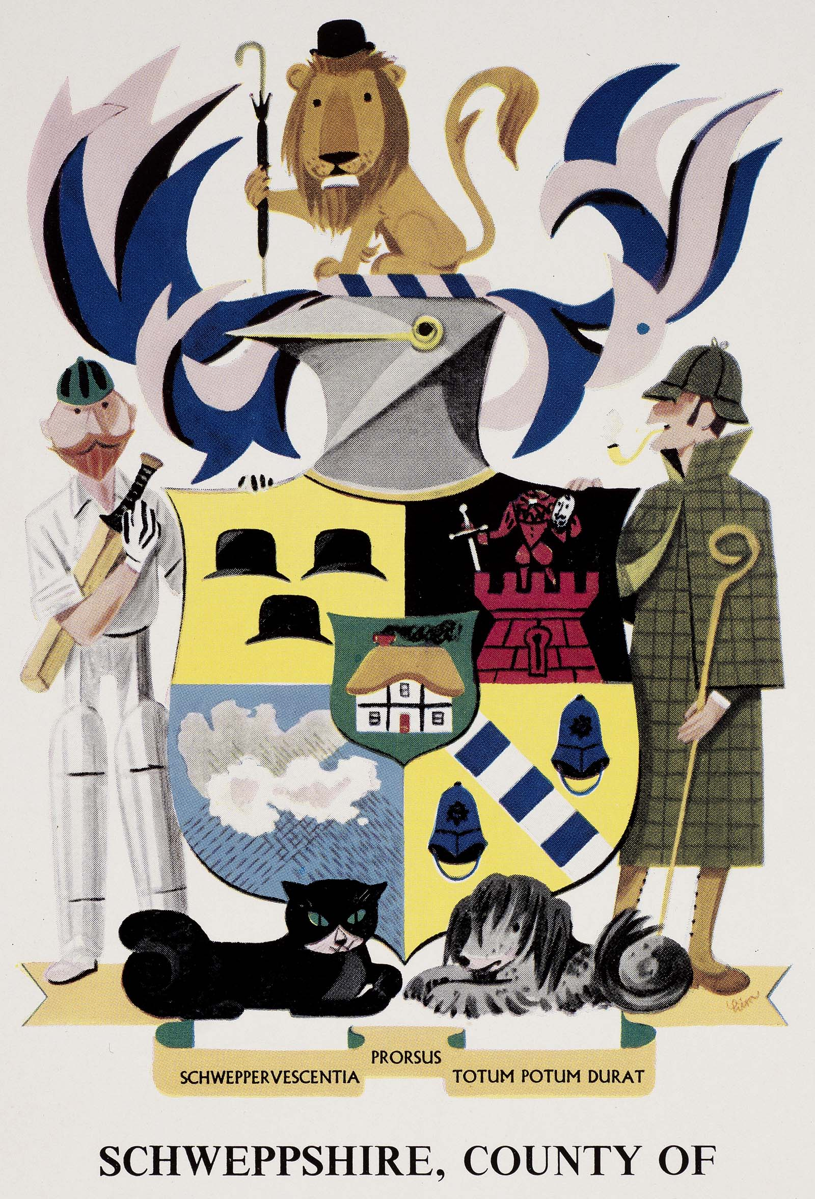 a poster with cartoon coat of arms with a shield flanked by a man waering a deer stalker and another wearing cricket gear