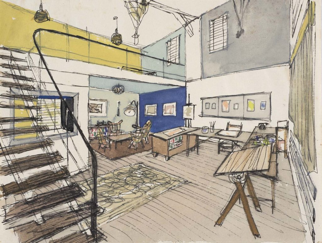 a drawing of a studio with drawing tables and mezzanine floor