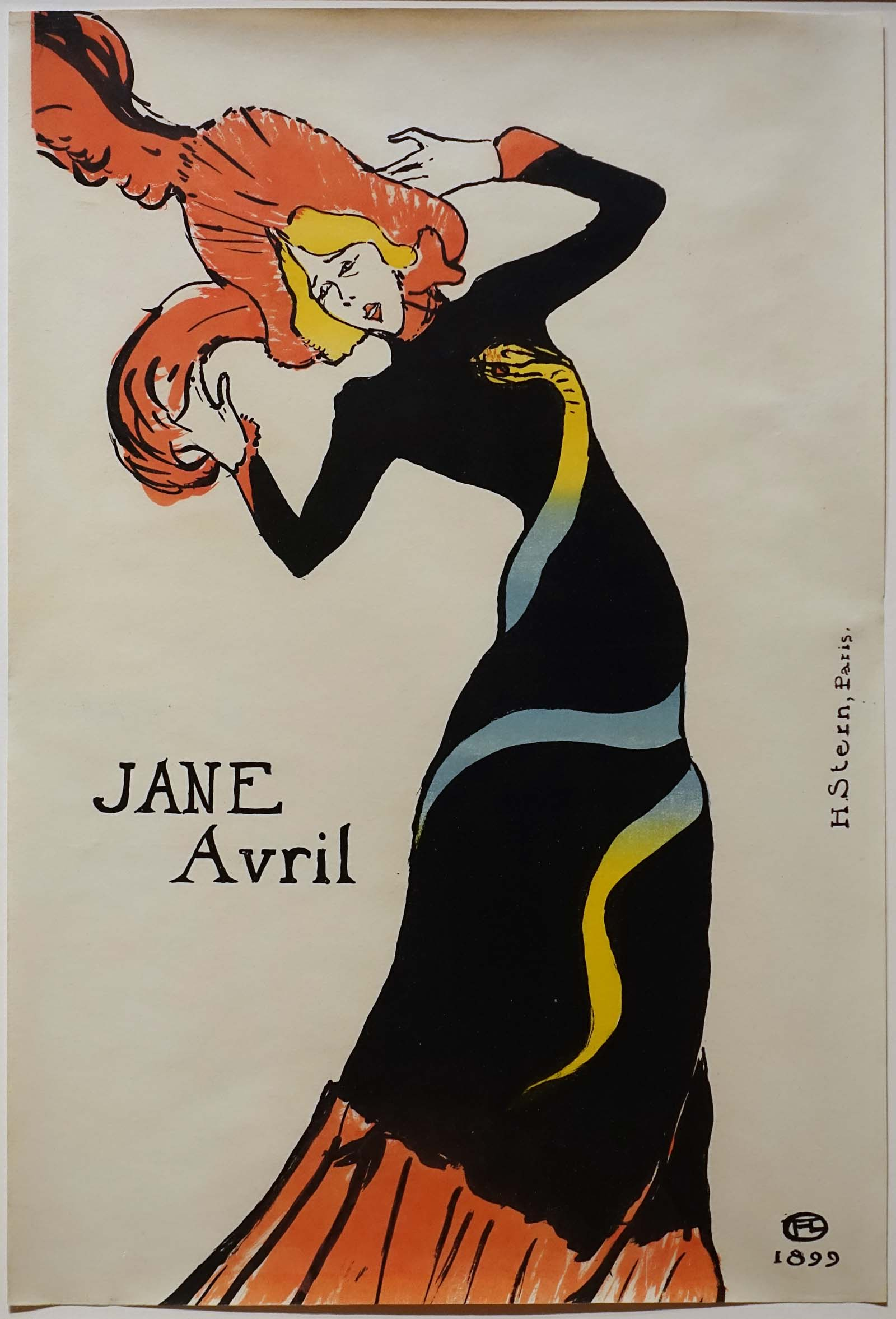 a drawing of a woman with red hair and a dress with snake motif dancing