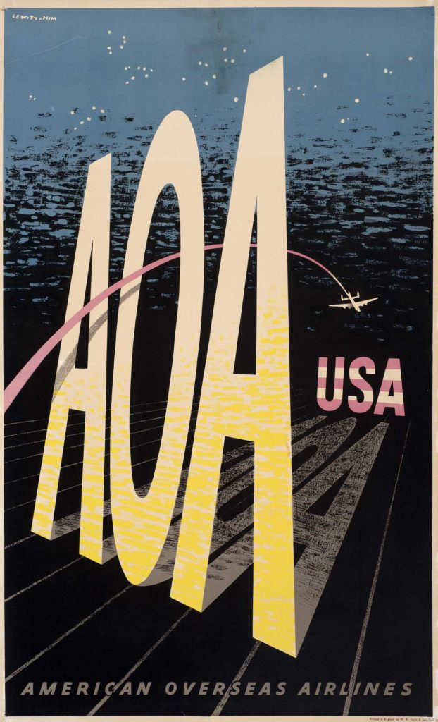 a poster with large A.O.A letters and a plane flying through the centre of them