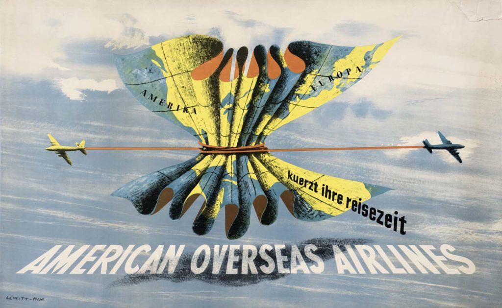 a poster with aeroplanes tie up a map with a rope tied to each of their tails