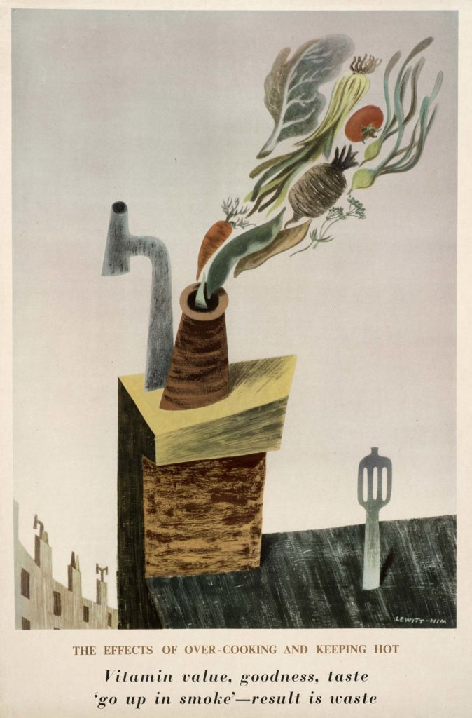a poster with carrots and other vegetables rising from a chimney like smoke