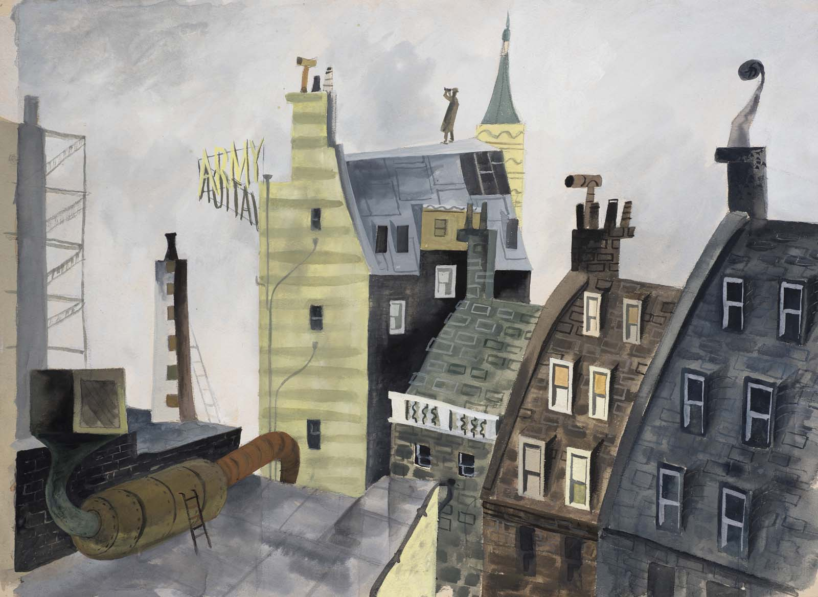 a watercolour showing rooftops and a man in a tin hat with binoculars on the highest roof