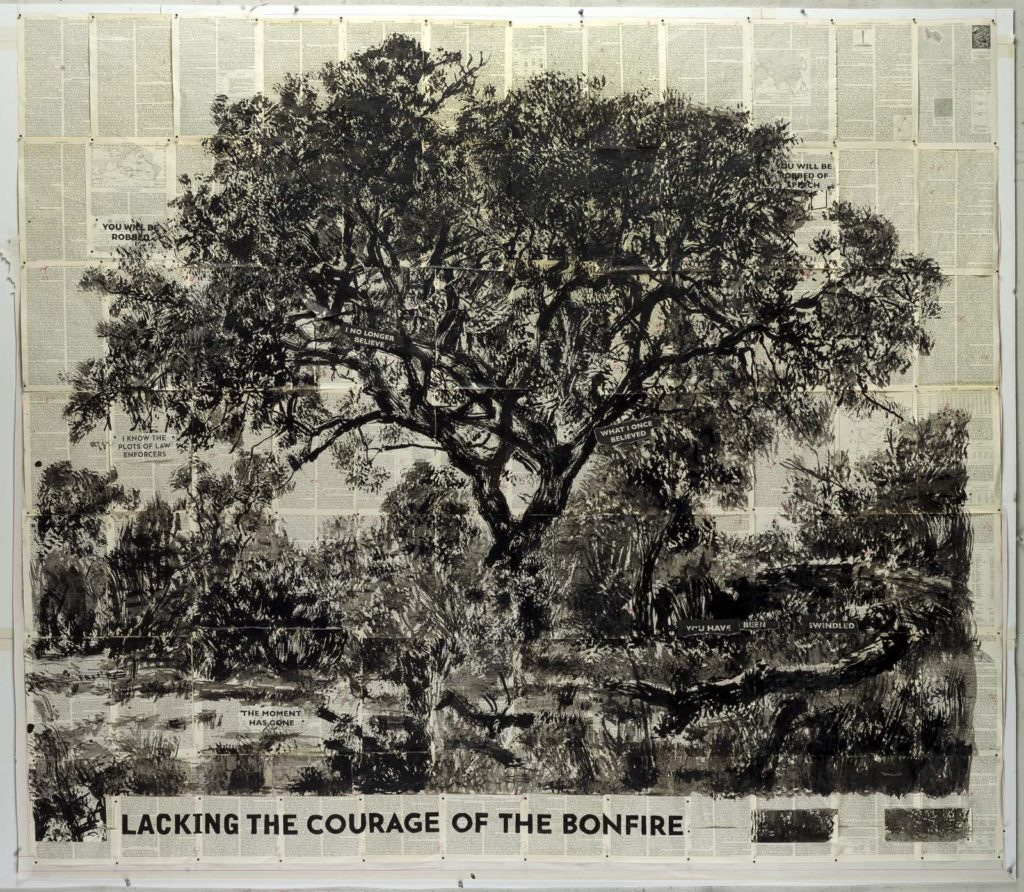 a black and white ink drawing of a big old tree on printed newspaper sheets