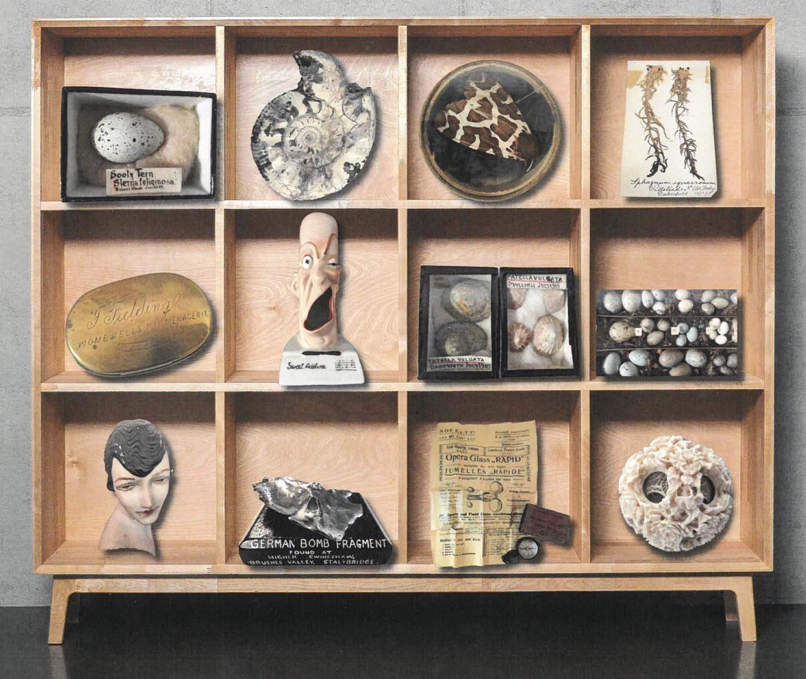 a drawing of a number of strange objects on a display unit
