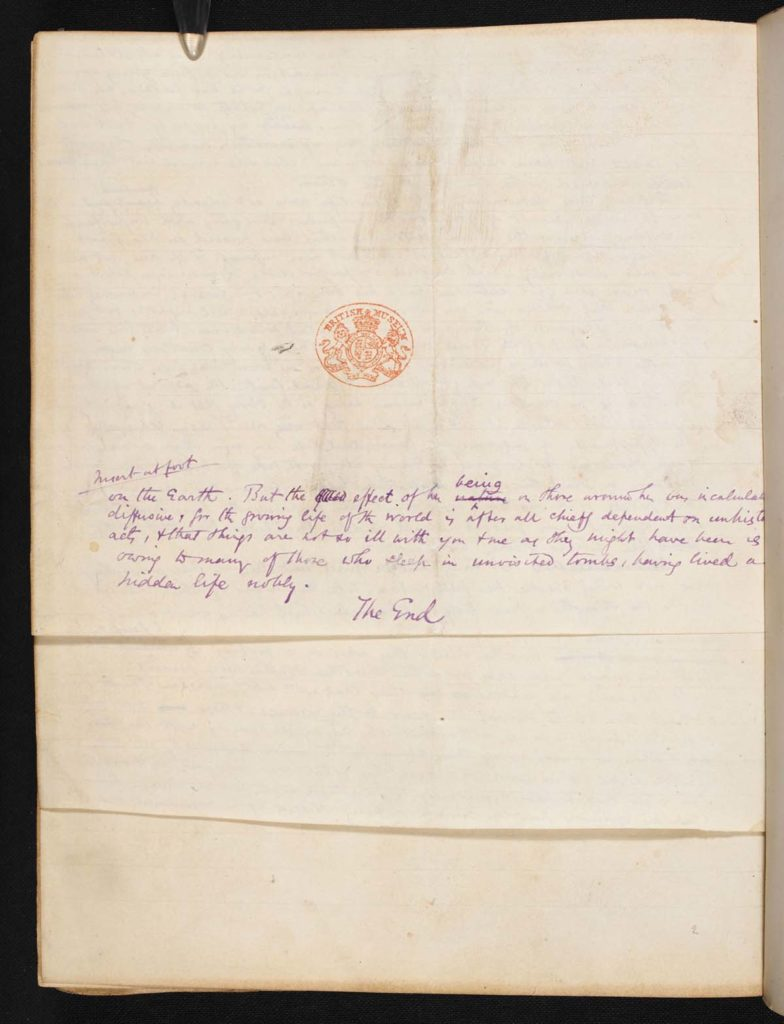 a photo of the final page of George Eliot's Middlemarch manuscript