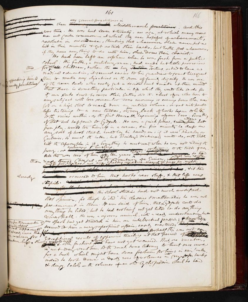 a handwritten manuscript page from George Eliot's Middlemarch with crossings out and corrections