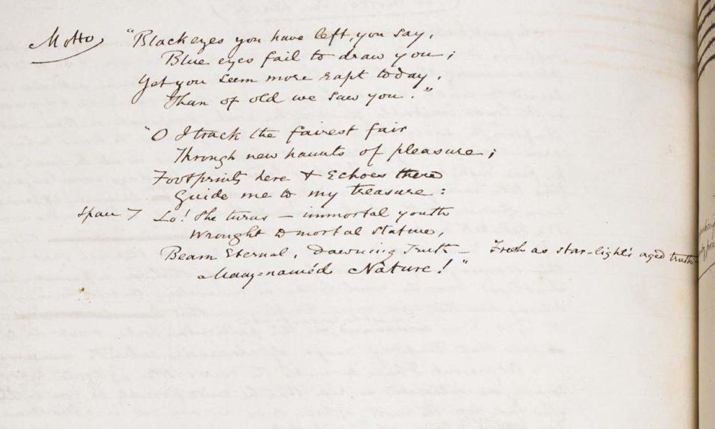 a mnasucript with a handwritten short poem