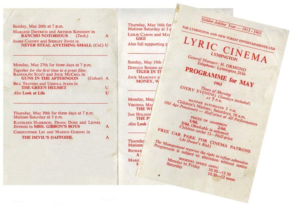 a photo of a printed cinema programme
