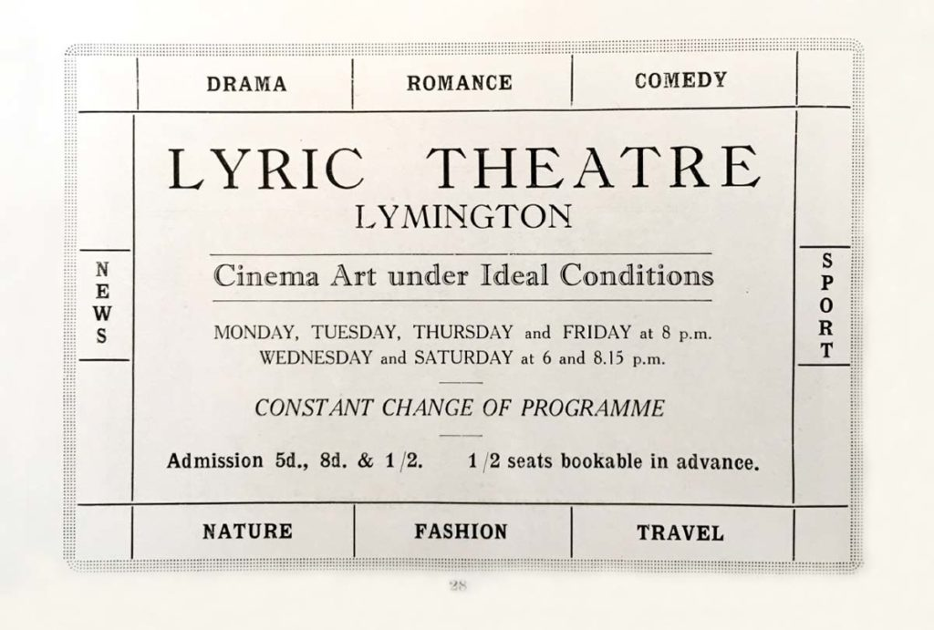 a photo of a programme page showing the offer of the lyric theatre