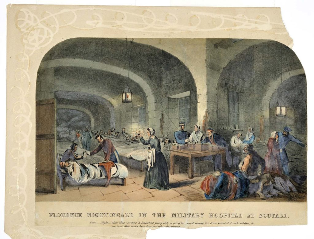 a print of Florence Nightingale in the hospital