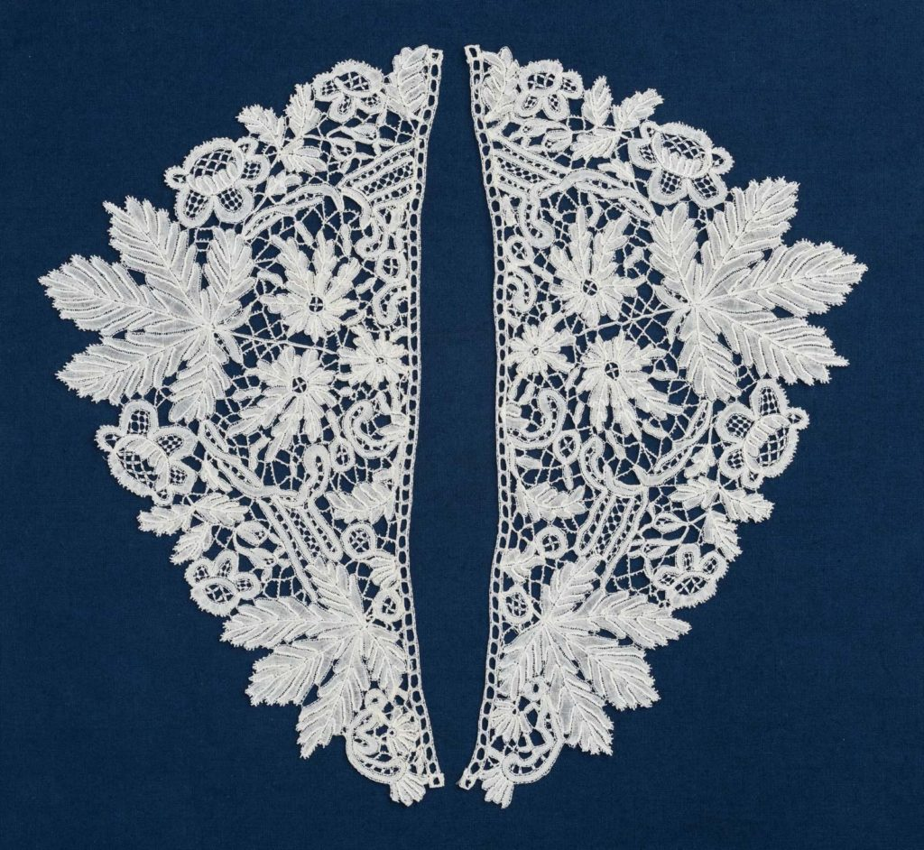 a photo of a symmetrical lace cuffs