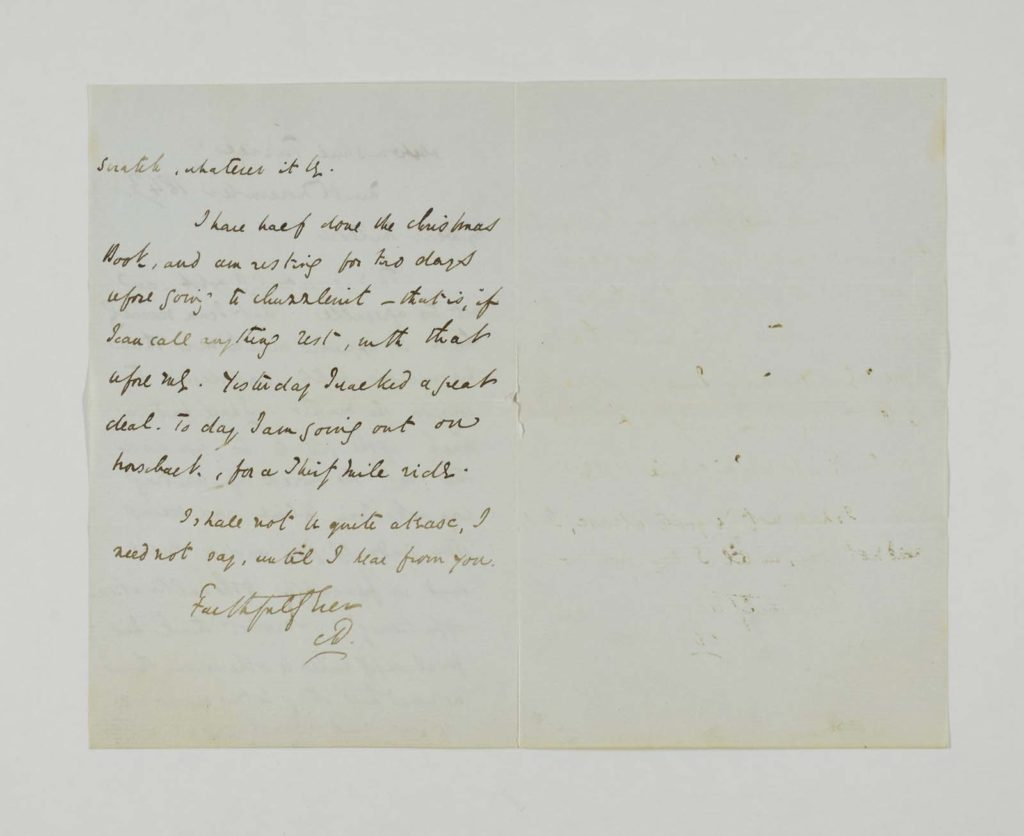 a single page of a handwritten letter signed by Charles Dickens