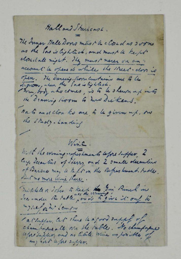 a handwritten note in blue ink
