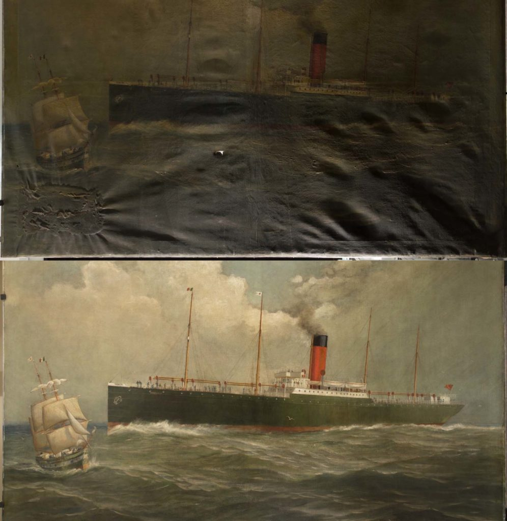 a before and after restoration of a painting of an ocean liner