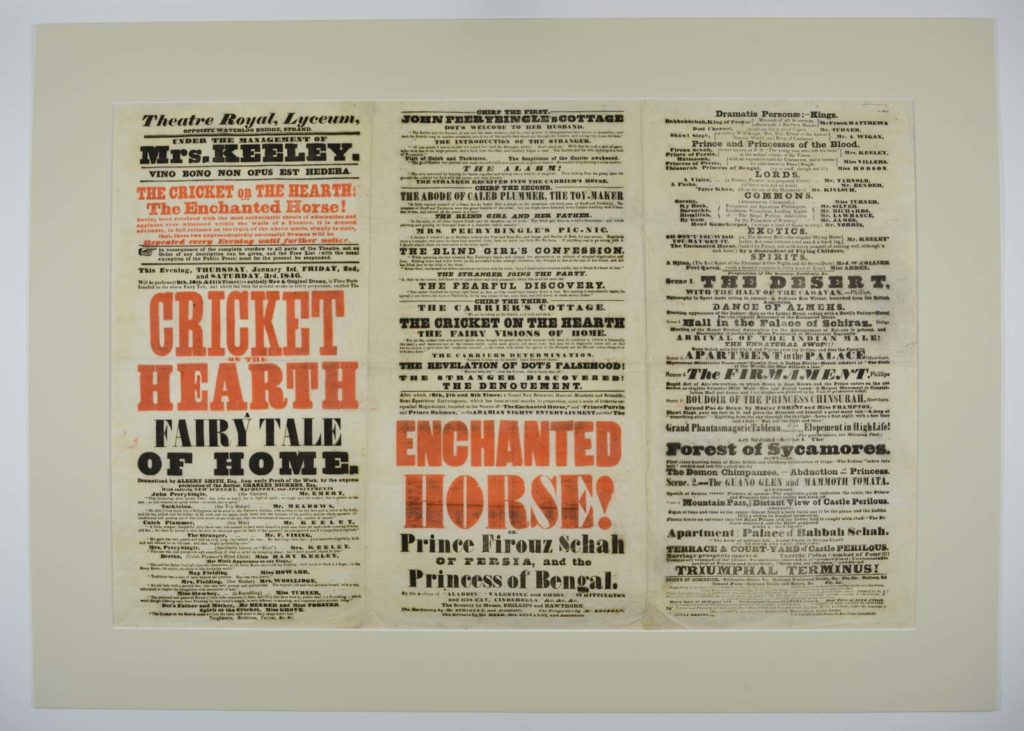a playbill in red and black type