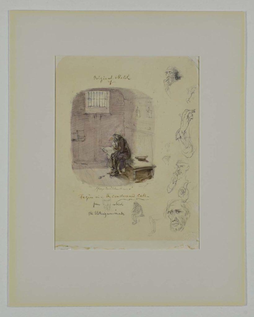an illsutation showing an elderly bedraggled figure in a jail cell