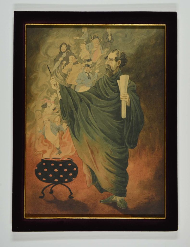 a painting depicting Chalres Dickens conjuring Spirits from a cauldron