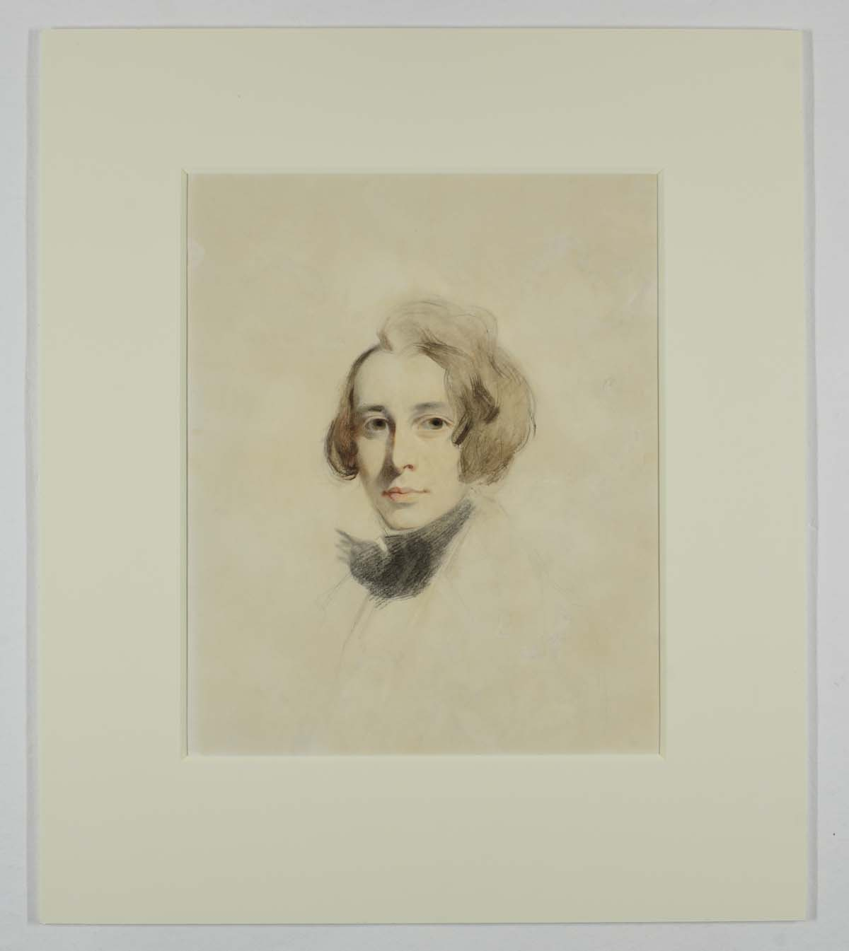 sketch of a young Charles Dickens, beardless with medium length hair