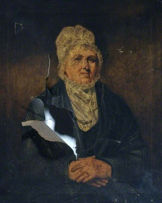 a painting of a lady with a large rip across the left side