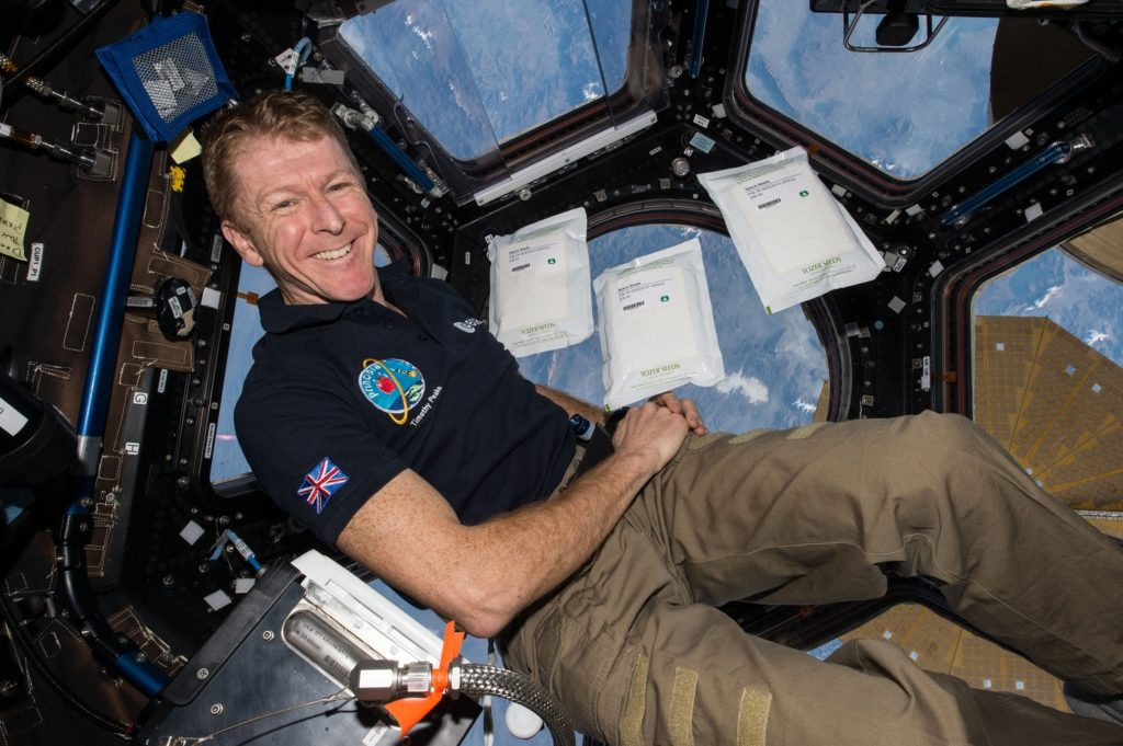 a photo of astronaut Tim Peake in the cupola of the space station with eath beow and bags of space food floating in front of him