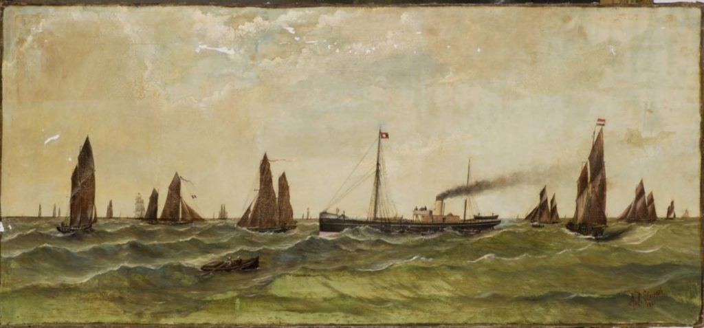a nautical scene of various ships in bay