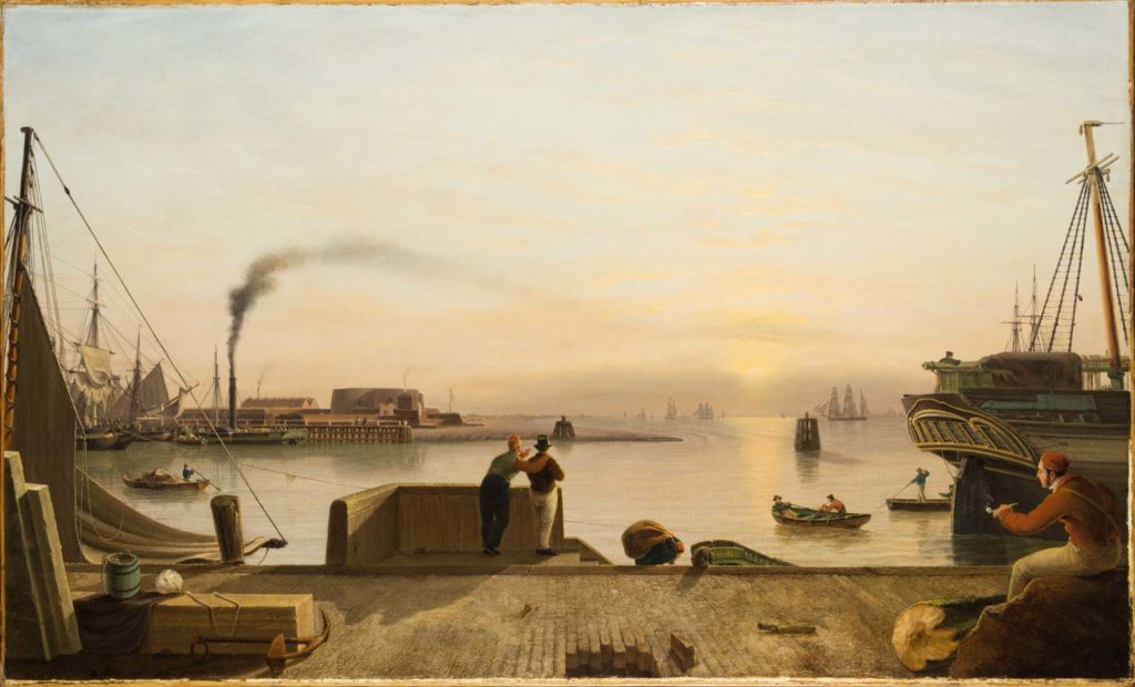 a painting of a waterfront dock with a steamer and yellow sunset in the distance