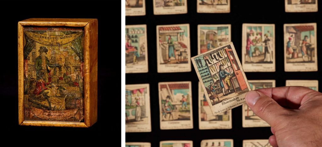 a composite image showing a box and the illustrated cards it contains each detailing nineteenth century occupations