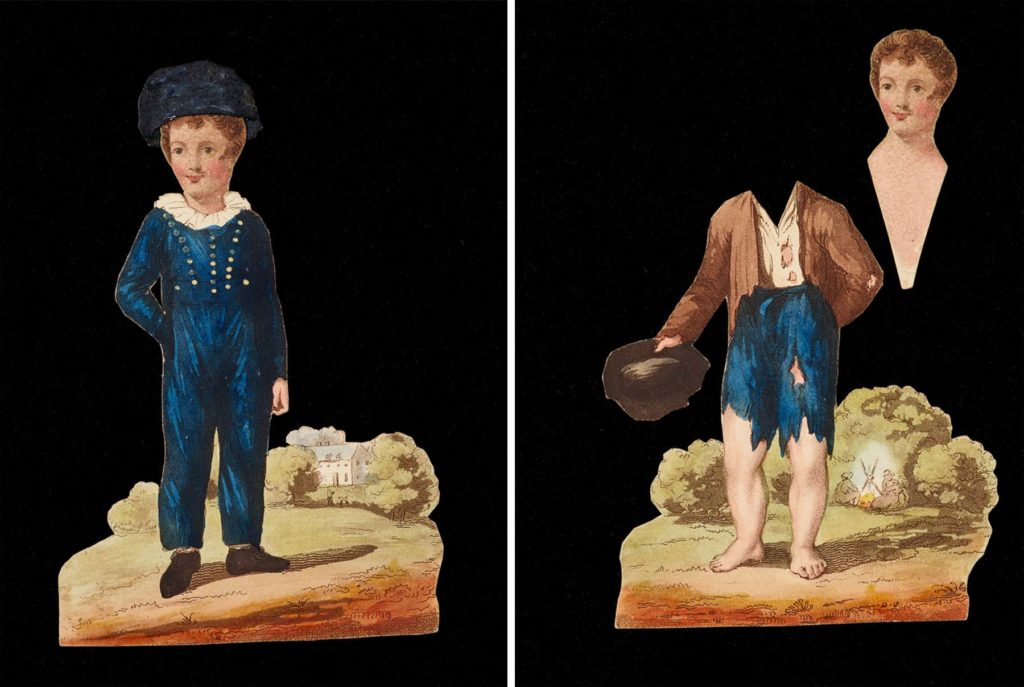 two images showing a paper figure of a boy; one dressed in silk clothes and another in rags